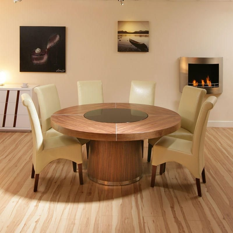 160cm Seat 8 10 Large Walnut Dining Table Black Classic Round Extendable Dining Table