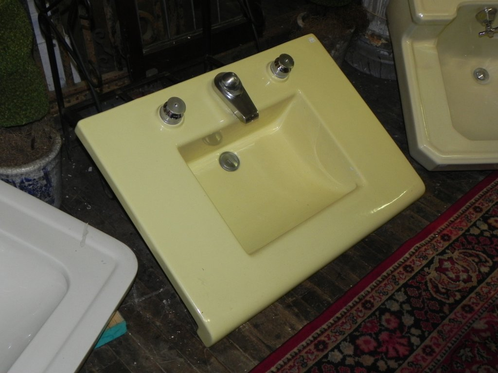 1950 39 Era Crane Criterion Yellow Counter Sink Cast Iron Kitchen Sinks Color