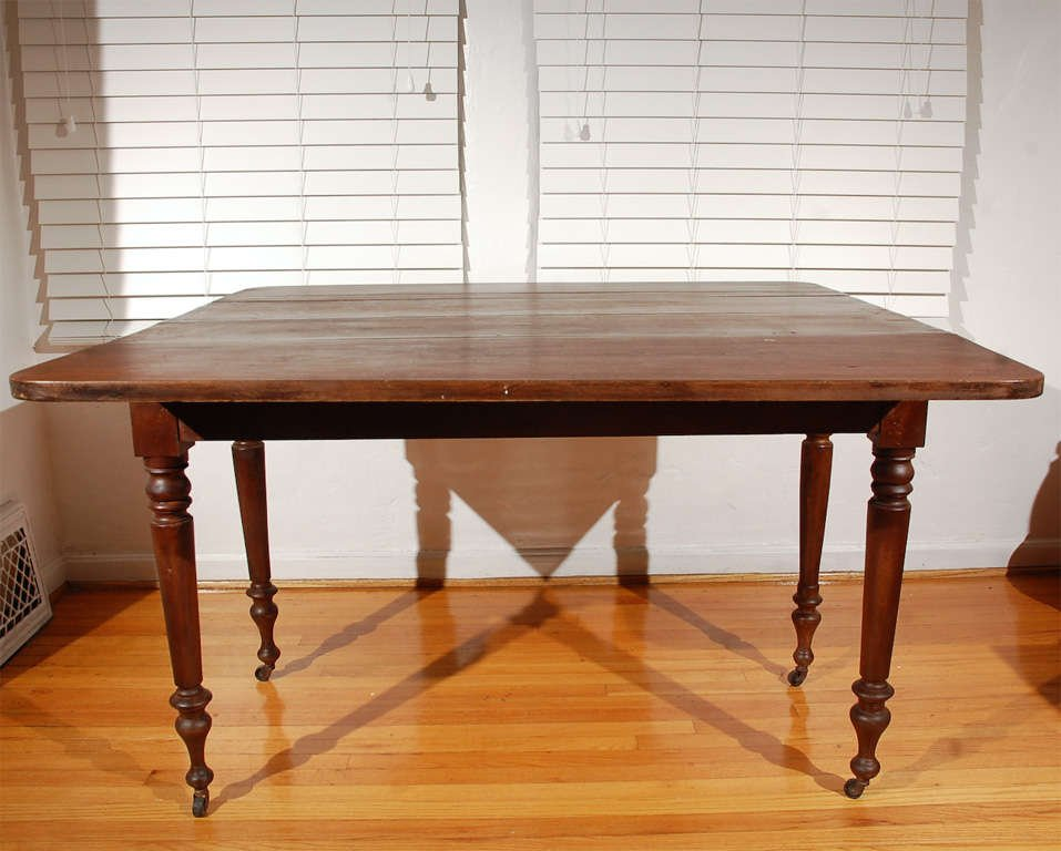 19thc Natural Surface Walnut Drop Leaf Table Turned Making An Drop Leaf Kitchen Table