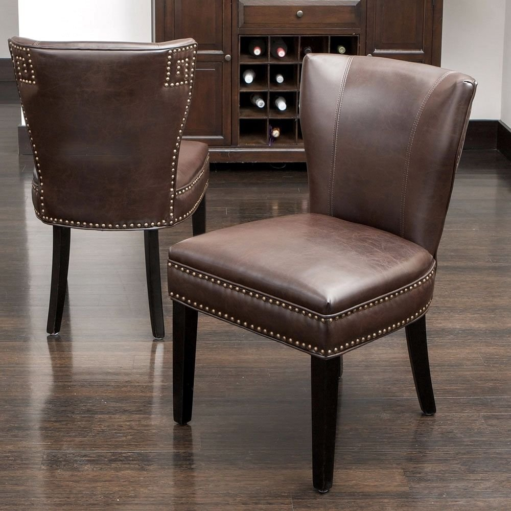 2 Leather Brown Dining Chair Upholstered Accent Living Making Dining Room Chair Slipcovers