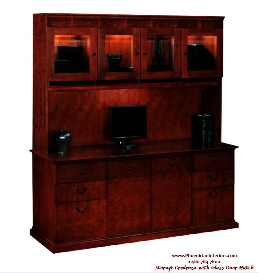 2 Piece Set Credenza Glass Door Hutch Office Furniture About Office Hutch Furniture