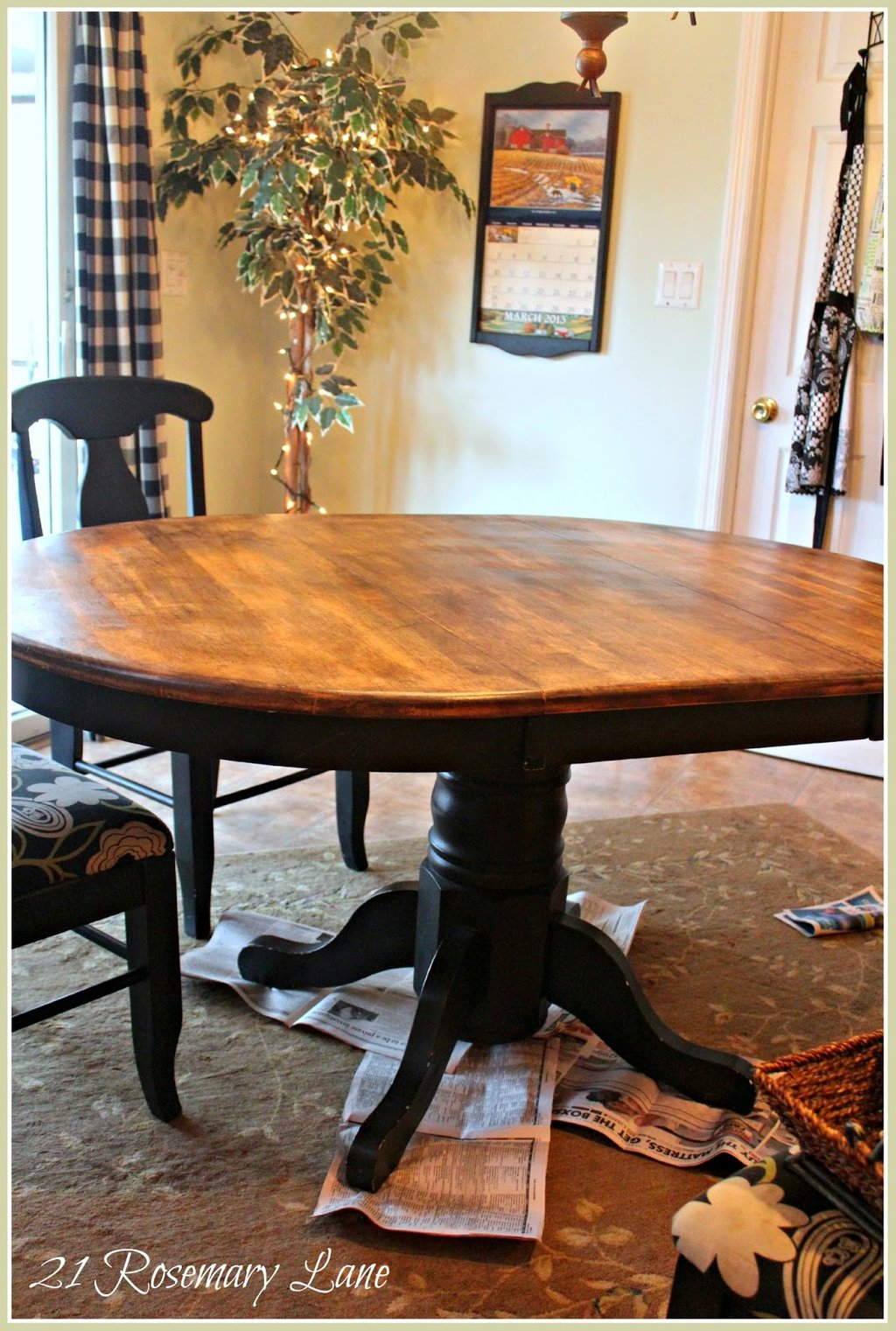 21 Rosemary Lane Freshened Kitchen Table Chair Repainting Butcher Block Kitchen Table