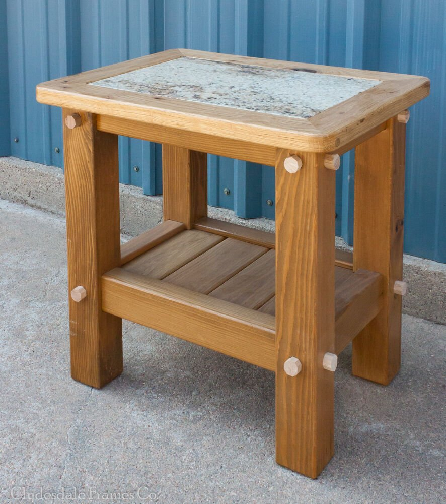 24 Quot 18 Quot 24 Rustic Timber Table Granite Inlay A Unique Square Lift Top Coffee Table