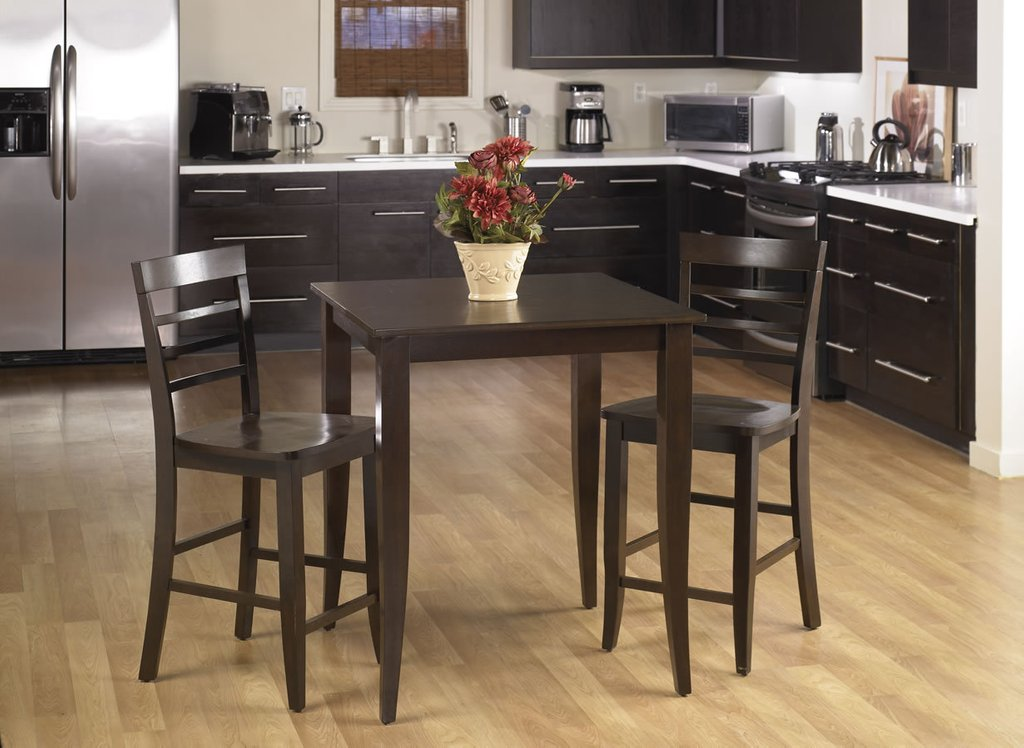 3 Pc Set Espresso Wood Bar Bistro Square Pub Dining Table Considering For Square Bistro Table