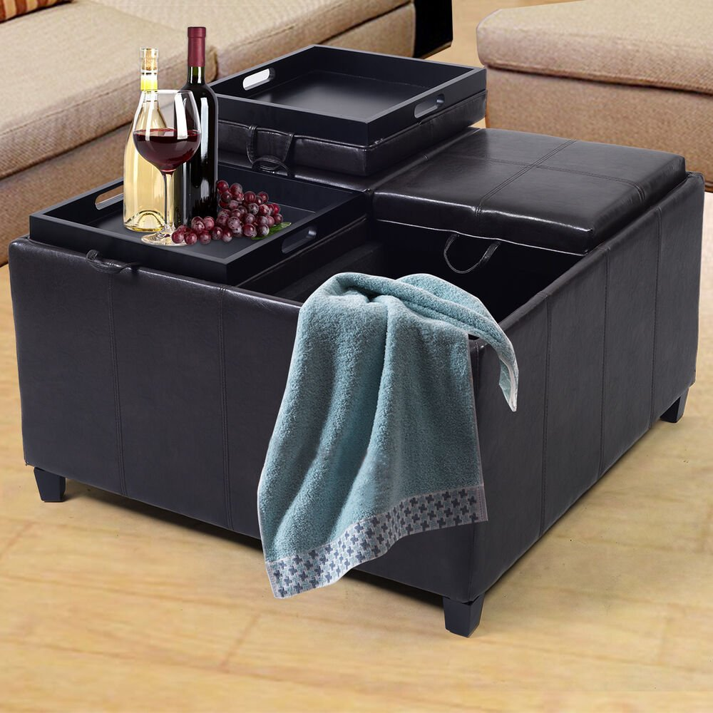 4 Tray Top Ottoman Storage Table Pu Leather Bench Coffee Square Leather Ottoman Coffee Table