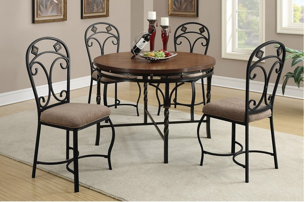 5 Pc Modern Dining Metal Set Poundex Hot Sectional How To Build Round Wood Table Tops