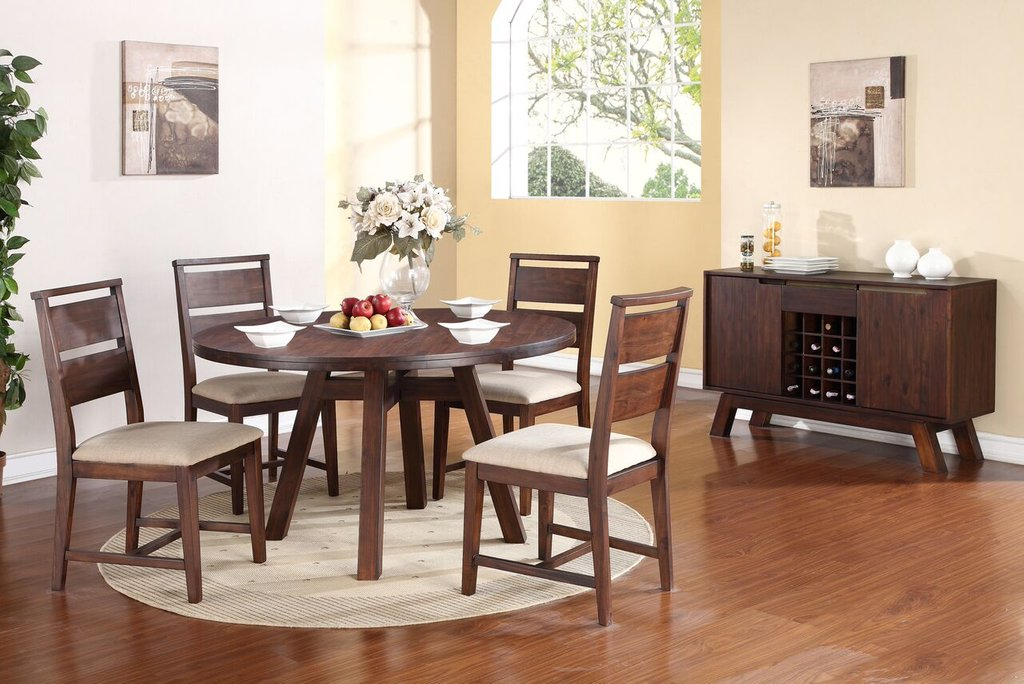 5 Piece Portland Solid Wood Dining Set Usa Reclaimed Wood Round Dining Table
