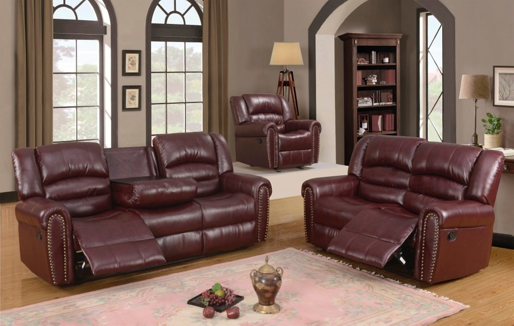 686 Burgundy Leather Reclining Loveseat Nailhead Trim Leather Sofa Recliner With Console
