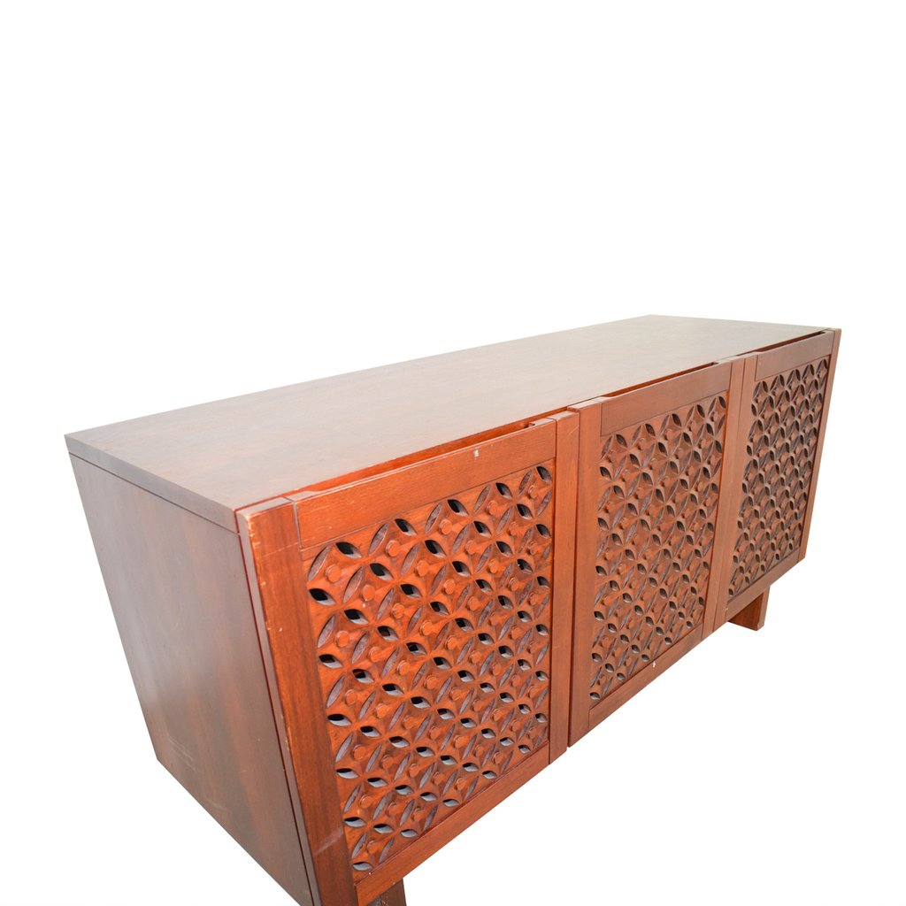 74 West Elm Carved Wood Medium Console Reclaimed Wood Media Console Table
