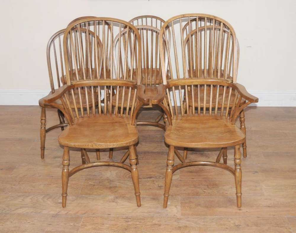 8 Oak Windsor Kitchen Dining Chair Farmhouse Chair How To Repair Rattan Dining Chairs