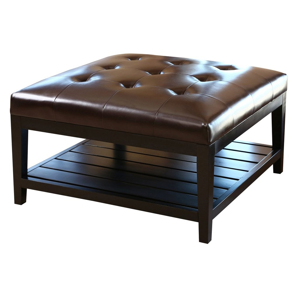 Abbyson Living Villagio Tufted Leather Square Coffee Table Decorate A Leather Ottoman Coffee Table