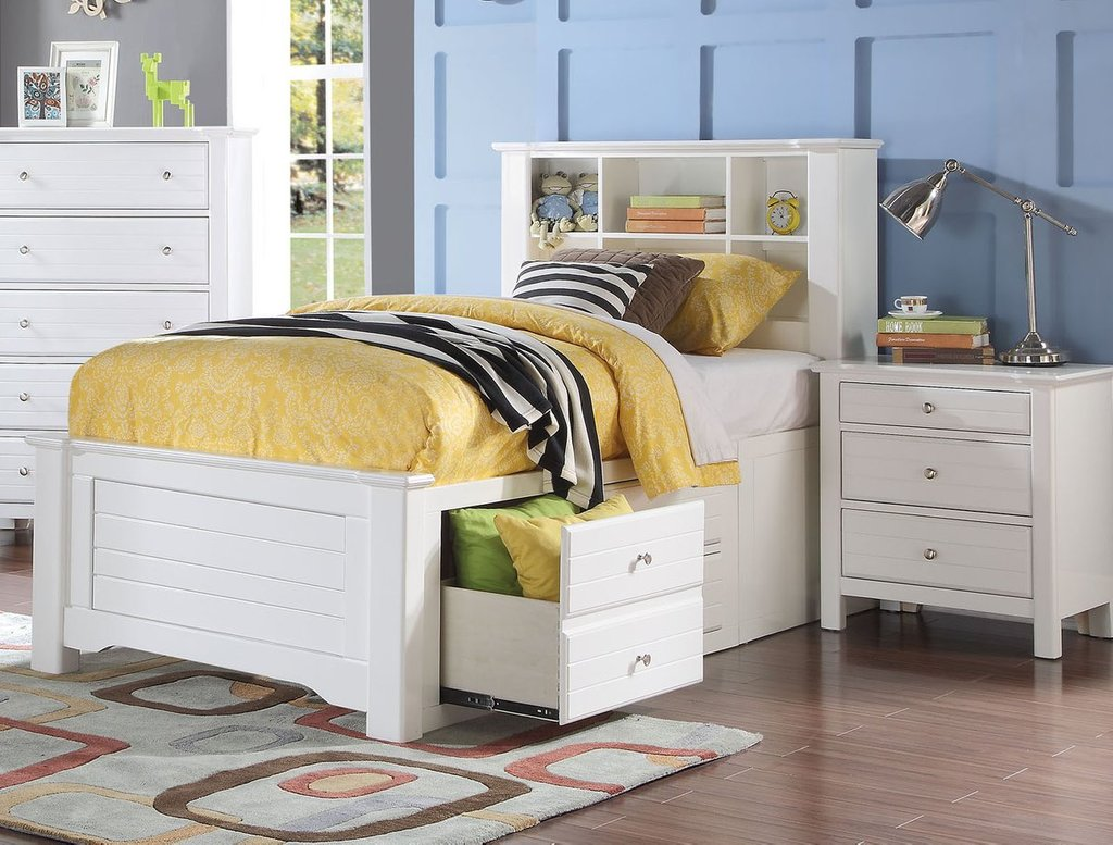 Acme 30415f Mallowsea White Bookcase Headboard Full How To Make An Bookcase Headboard