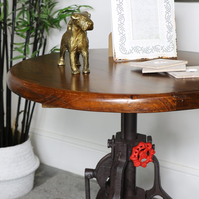 Adjustable Wooden Top Bar Table Melody Maison How To Build Round Wood Table Tops