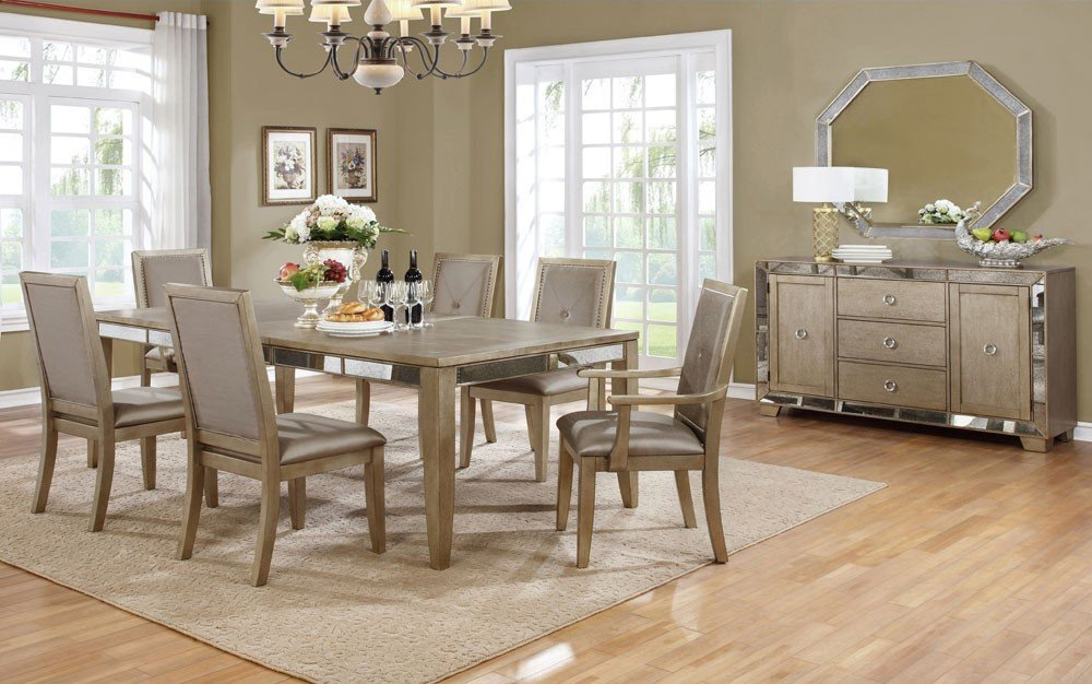 Ailey Dining Room Furniture Set Mirrored Accent How To Decorate Mirrored Dining Table