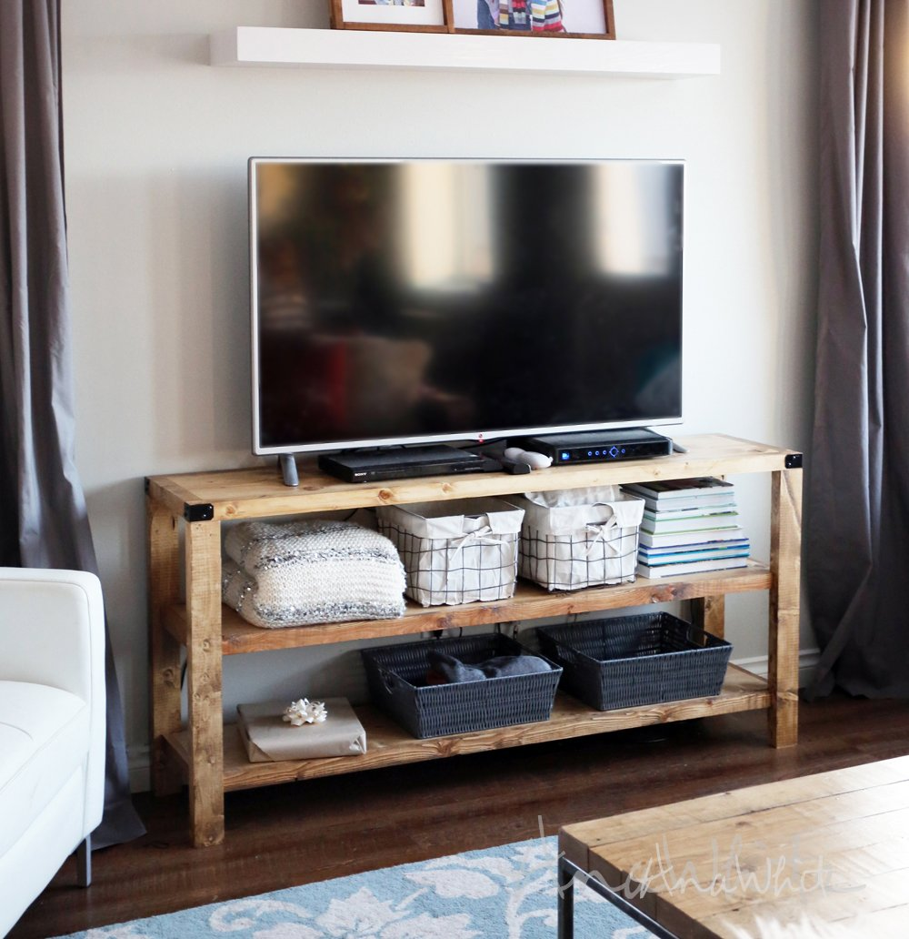 Ana White Henry Medium Console Diy Project Reclaimed Wood Media Console Table