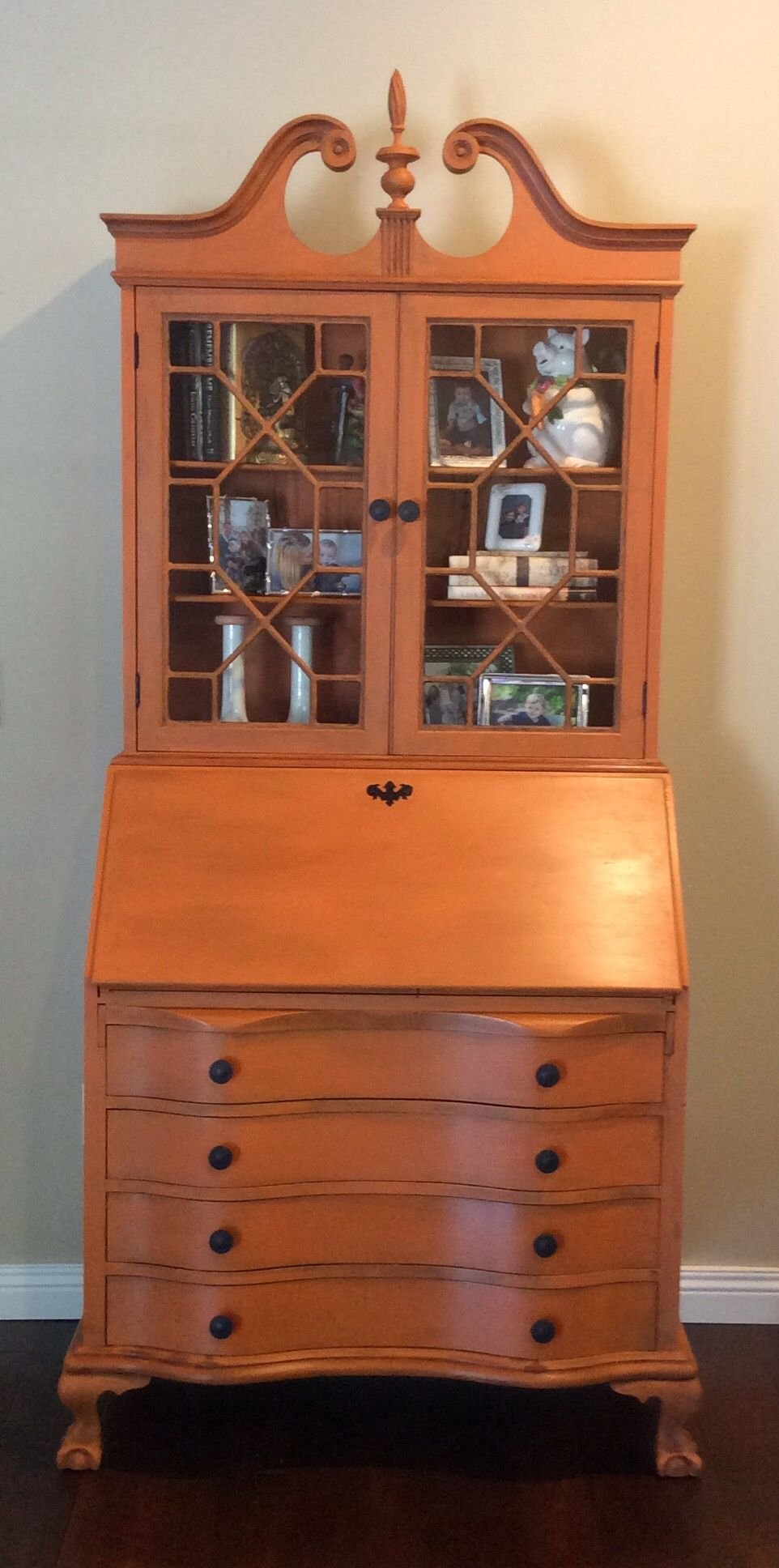 Annie Sloan Barcelona Orange Chalk Paint Dark Wax Knotty Pine Cabinets