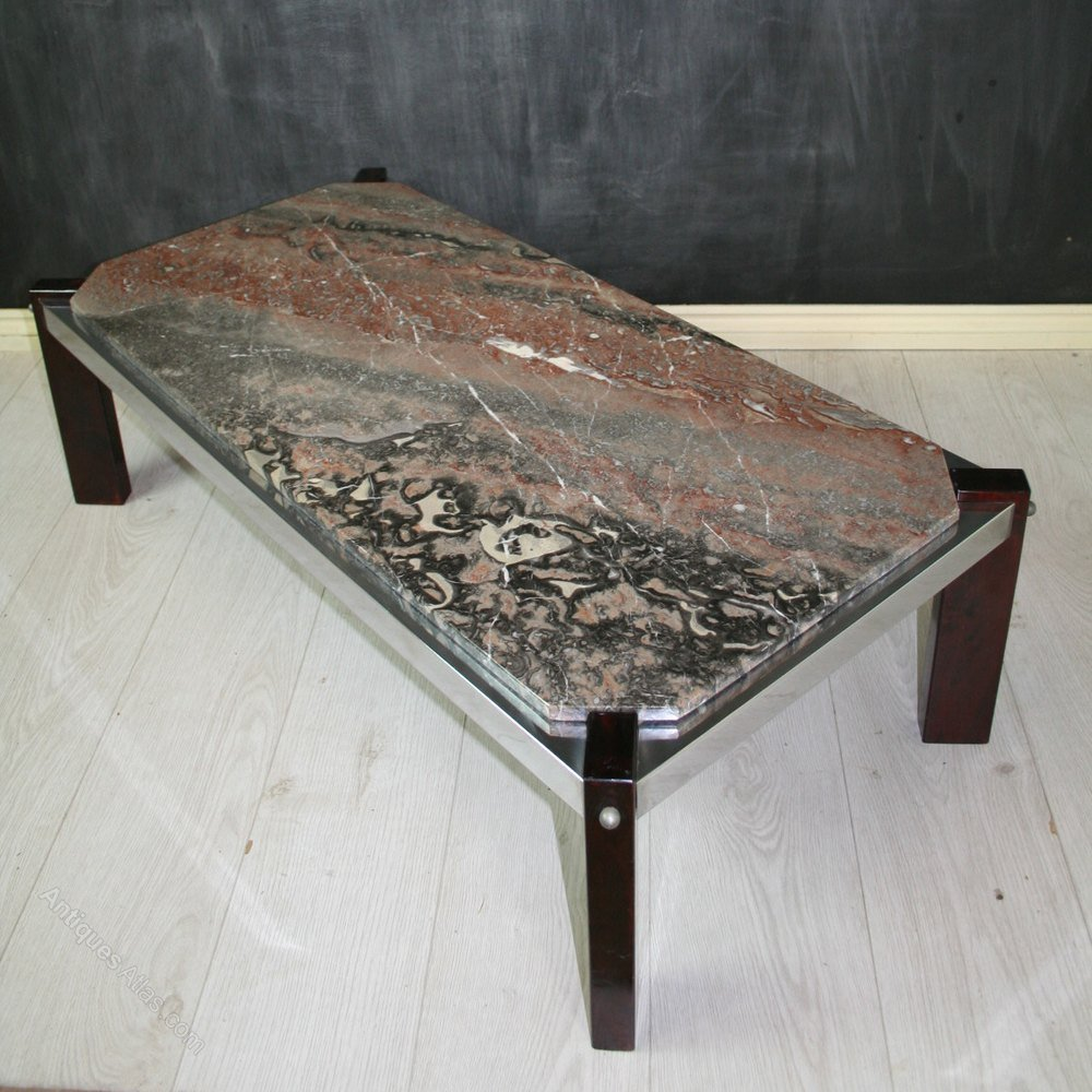 Antique Atla Vintage Italian Marble Top Coffee Table How To Refinish Marble Table Tops