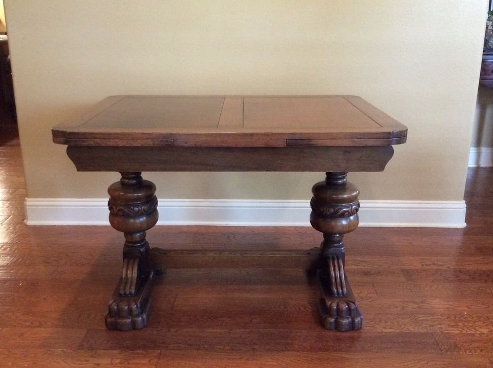 Antique English Oak Pull Leaf Dining Table Double Pedestal Dining Table Antique