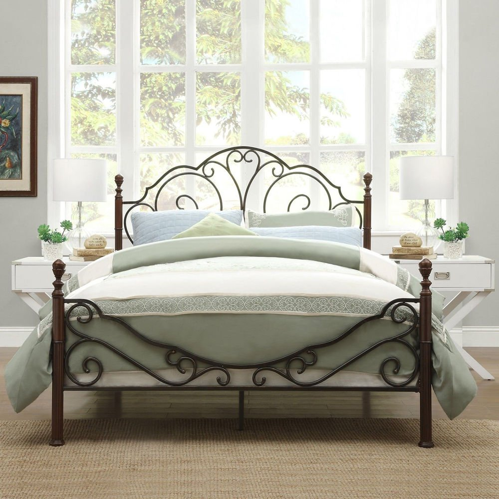Antique Metal Bed Frame Bronze Iron Scroll Full Queen King Paint On Iron Headboard