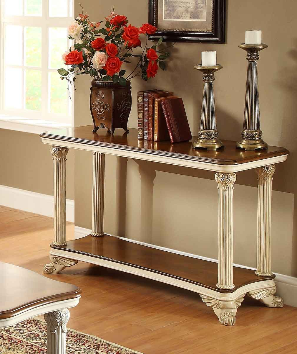 Antique White Sofa Table Homelegance Furniture Home How To Design Rustic Console Table