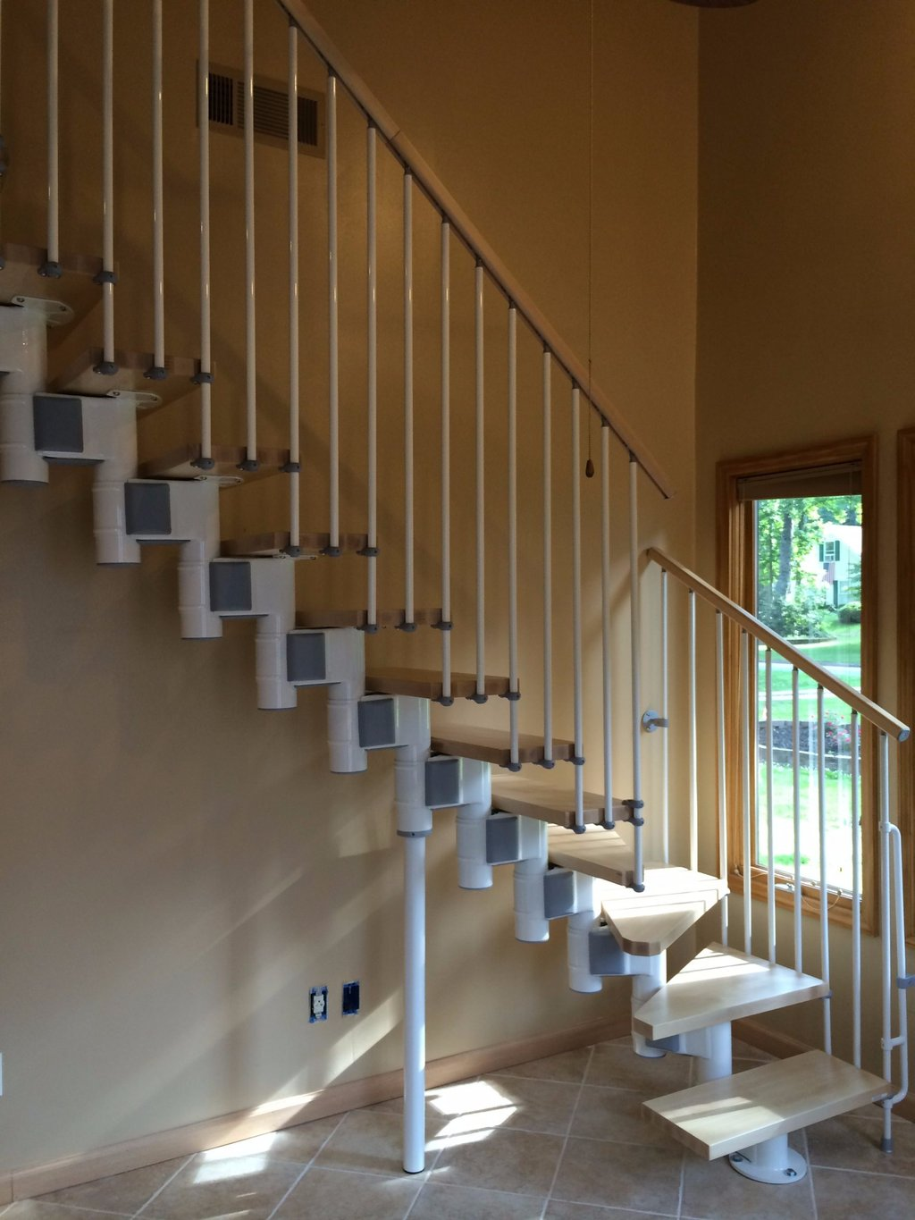 Arke Kompact White Grey Beachwood Stair Solution Outdoor Wooden Spiral Staircase