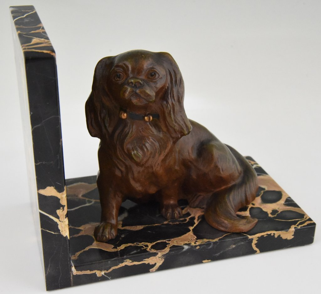 Art Deco Bronze Bookend King Charle Spaniel Dog Ideas Dog Bookends For Kids