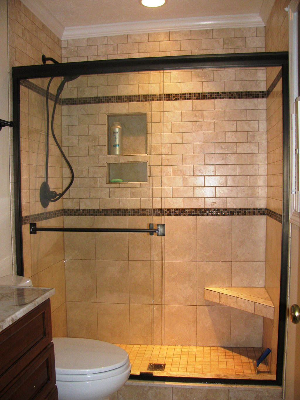Bathroom Tiled Shower Idea Install Mild Soap For Slate Tile Flooring