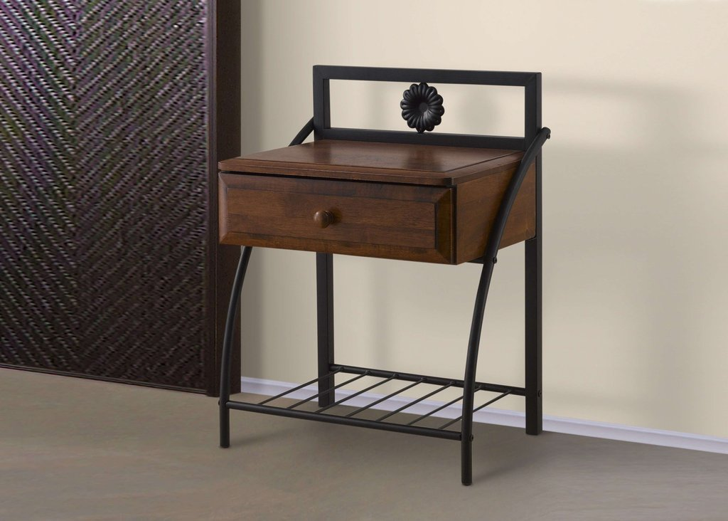 Baxton Studio Jevenci Vintage Industrial Black Metal How To Paint A Bronze Metal Nightstand