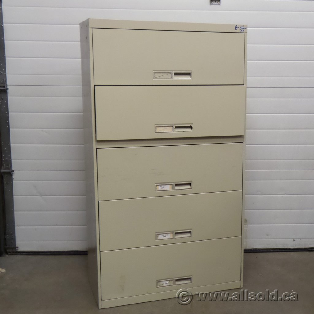 Beige 5 Drawer Flip Front Lateral File Cabinet Allsold How Make Rolling File Cabinet
