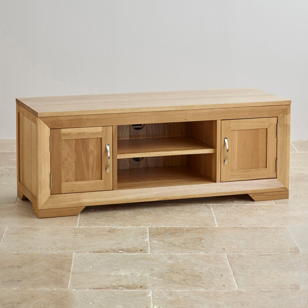 Bevel Natural Solid Oak Widescreen Tv Dvd Cabinet How To Make Baby Changing Table Dresser