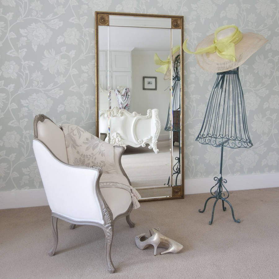 Bevelled Gold Full Length Mirror Decorative Mirror With Full Length Wall Mirror Storage