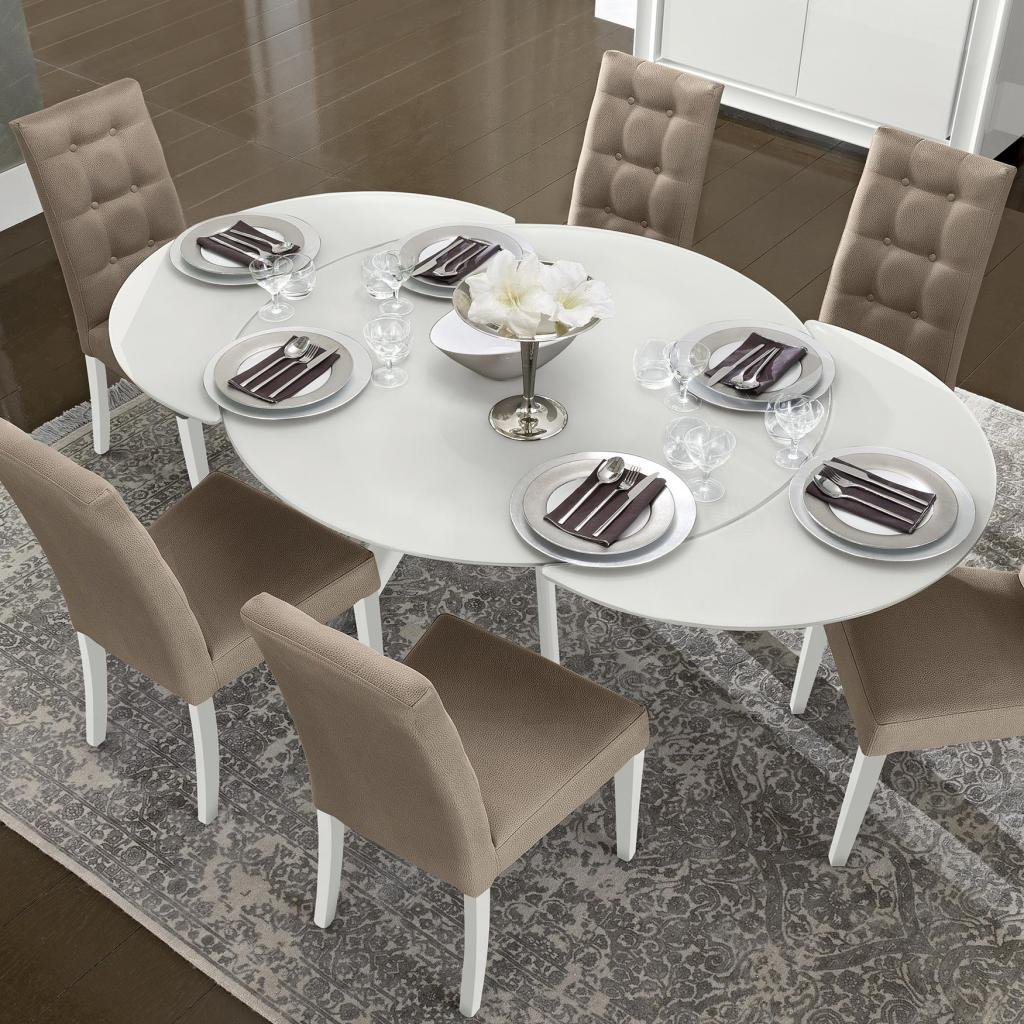 Bianca White High Gloss Glass Extending Dining Classic Round Extendable Dining Table