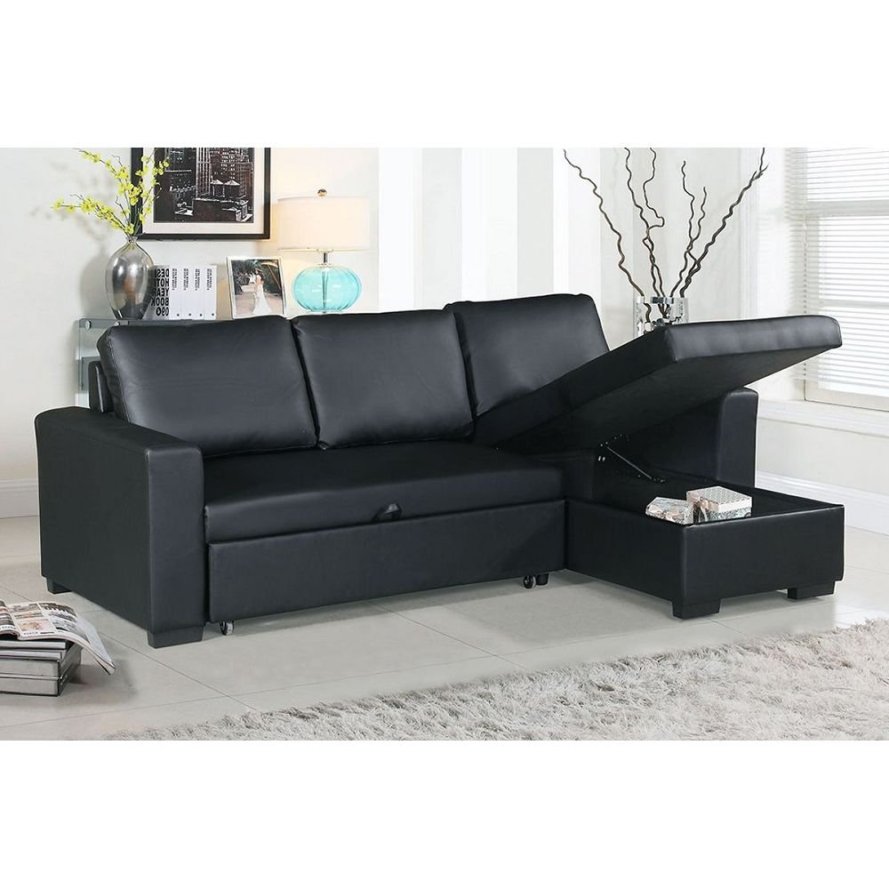 Black Faux Leather Convertible Sectional Sofa Bed Design Convertible Sectional Sofa Bed
