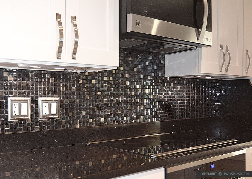 Black Galaxy White Cabinet Backsplash Idea Backsplash Black Galaxy Granite Tile Backsplash