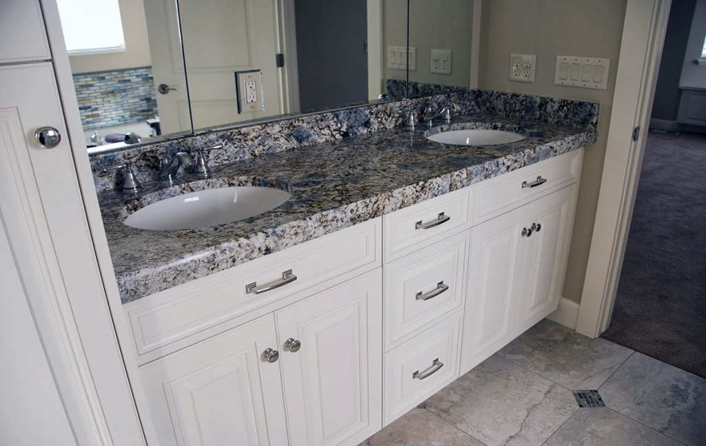 Blue Flower Granite Timeless White Quartz Countertops