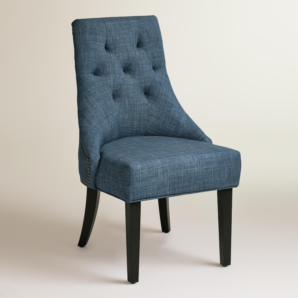 Blue Upholstered Dining Chair Homesfeed How To Repair Rattan Dining Chairs