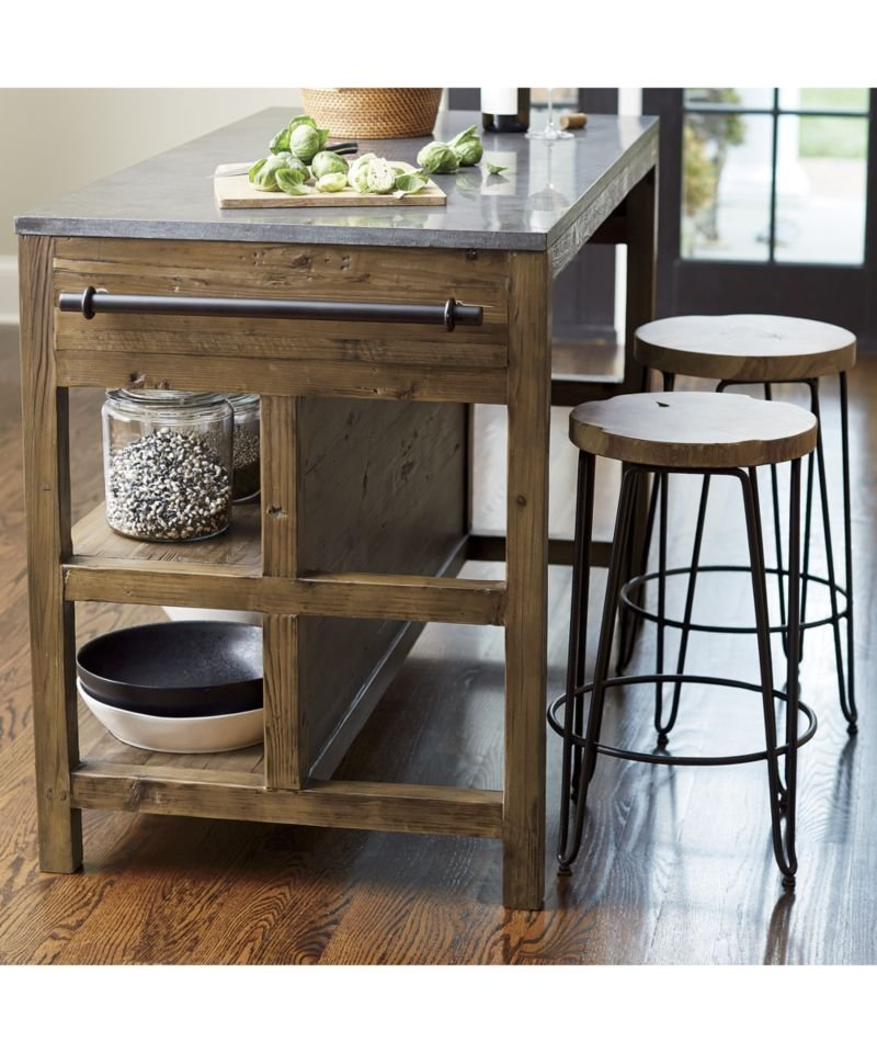Bluestone Reclaimed Wood Large Kitchen Island Review Tuxedo Sofa Crate And Barrel