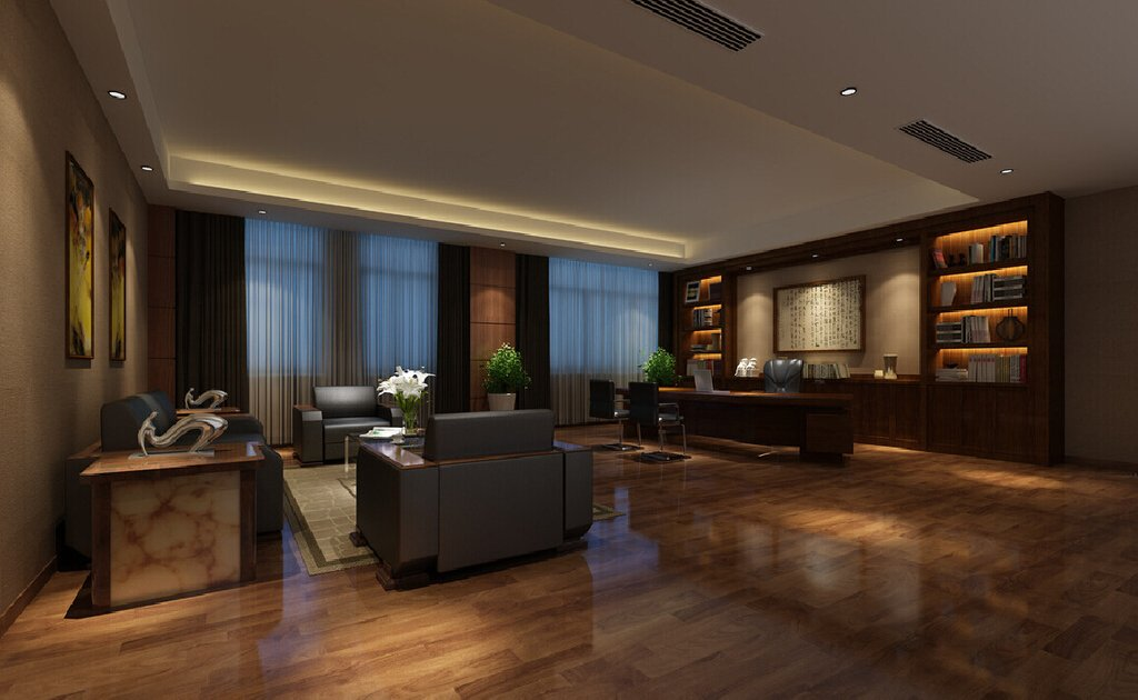 Bookcase Background Large Executive Office Ceo Chinese Sectional Sofas For Small Spaces Modern
