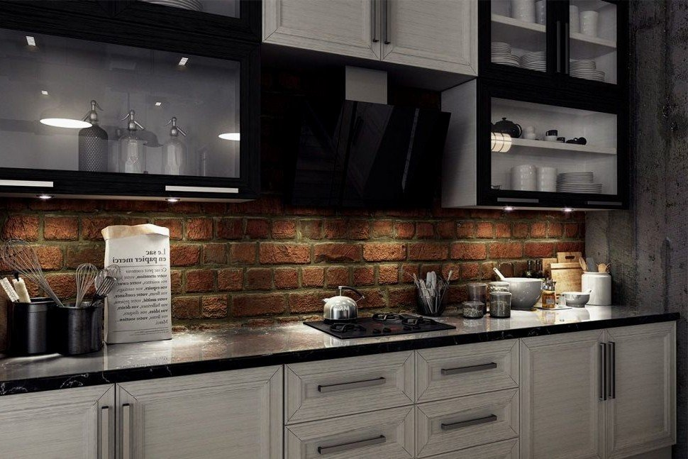 Brick Veneer Kitchen Backsplash Gl Kitchen Design Faux Brick Flooring Finish
