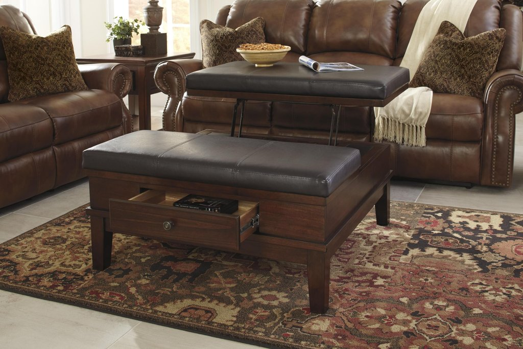 Brown Leather Ottoman Coffee Table Beautifullearth Decorate A Leather Ottoman Coffee Table