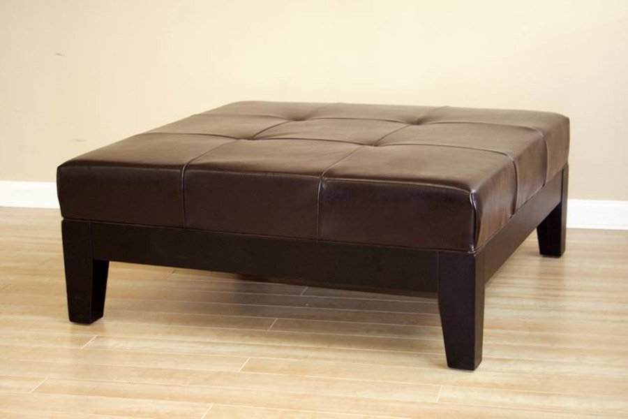 Brown Oversized Ottoman Coffee Table Creative Design Square Leather Ottoman Coffee Table