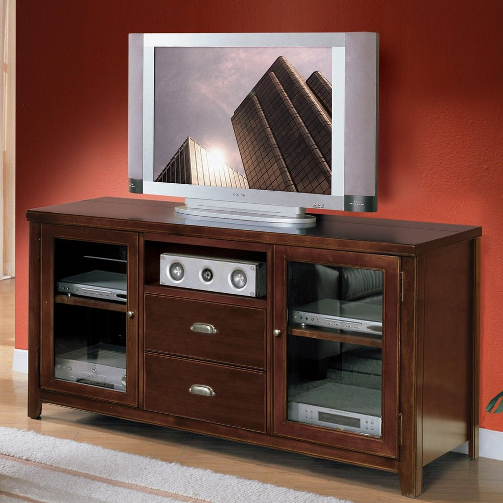 Brown Walnut Wood Medium Console Mixed Red Marron Wall Reclaimed Wood Media Console Table
