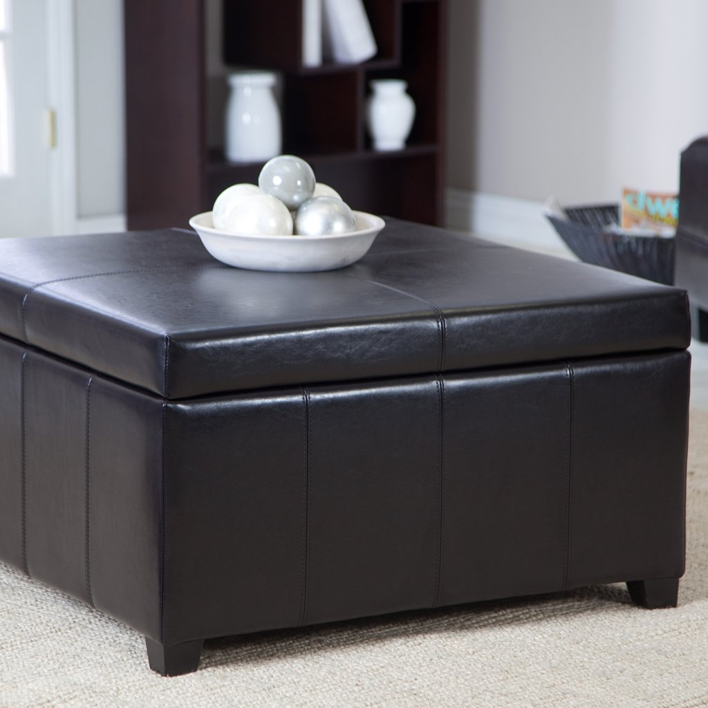 Cape Town Large Leather Storage Ottoman Coffee Table Square Leather Ottoman Coffee Table