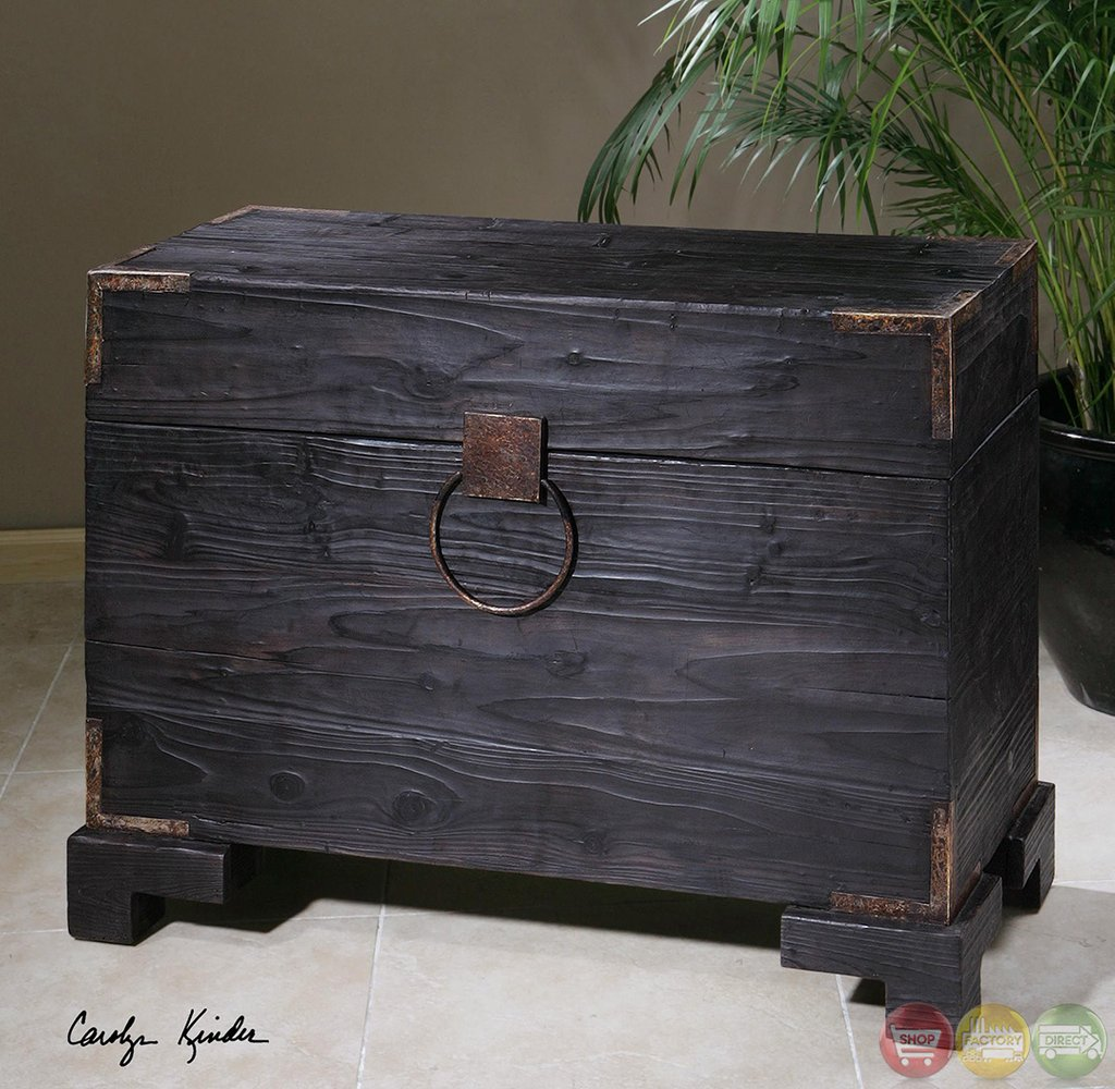 Carino Black Satin Finish Wooden Storage Trunk 24305 Make A Tree Trunk Coffee Table