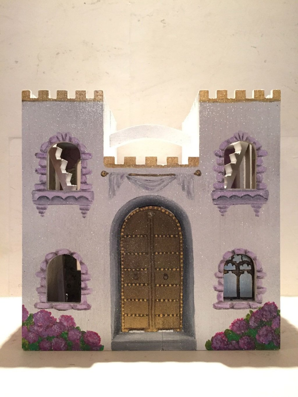 Castle Purple Princess Castle Toy Dollhouse Durability Of Kids Wooden Playhouse