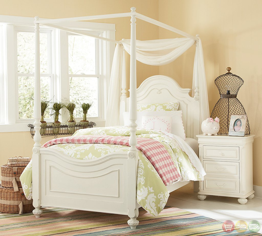 Charlotte Traditional Antique White Poster Canopy Twin Bed Build Wooden Twin Bed Frame
