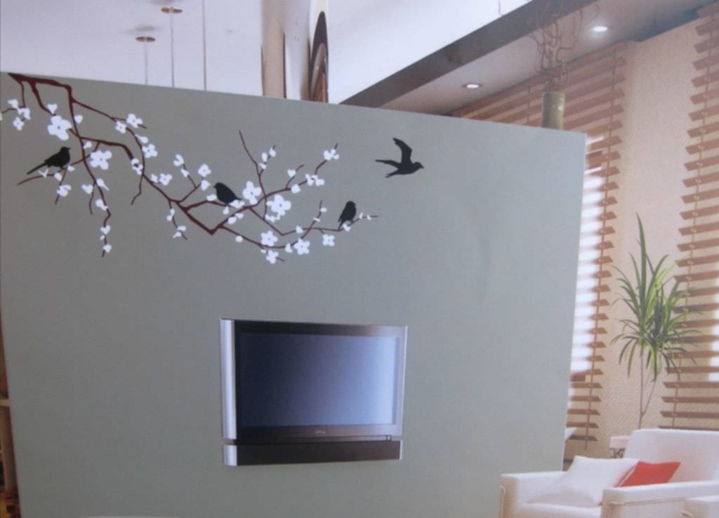 Cherry Blossom Wall Decor Idea Adorable Knotty Pine Cabinets