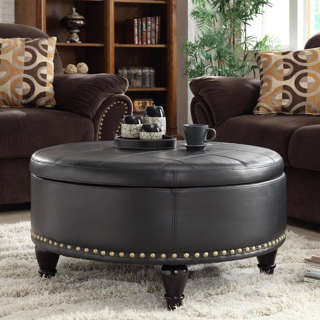 Chocolate Brown Sofa Living Room Idea Combined Decorate A Leather Ottoman Coffee Table