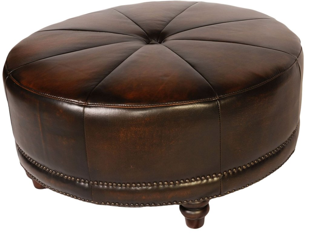 Cindy Black Tan Leather Ottoman Lazzaro Wh How To Make Round Ottoman Coffee Table