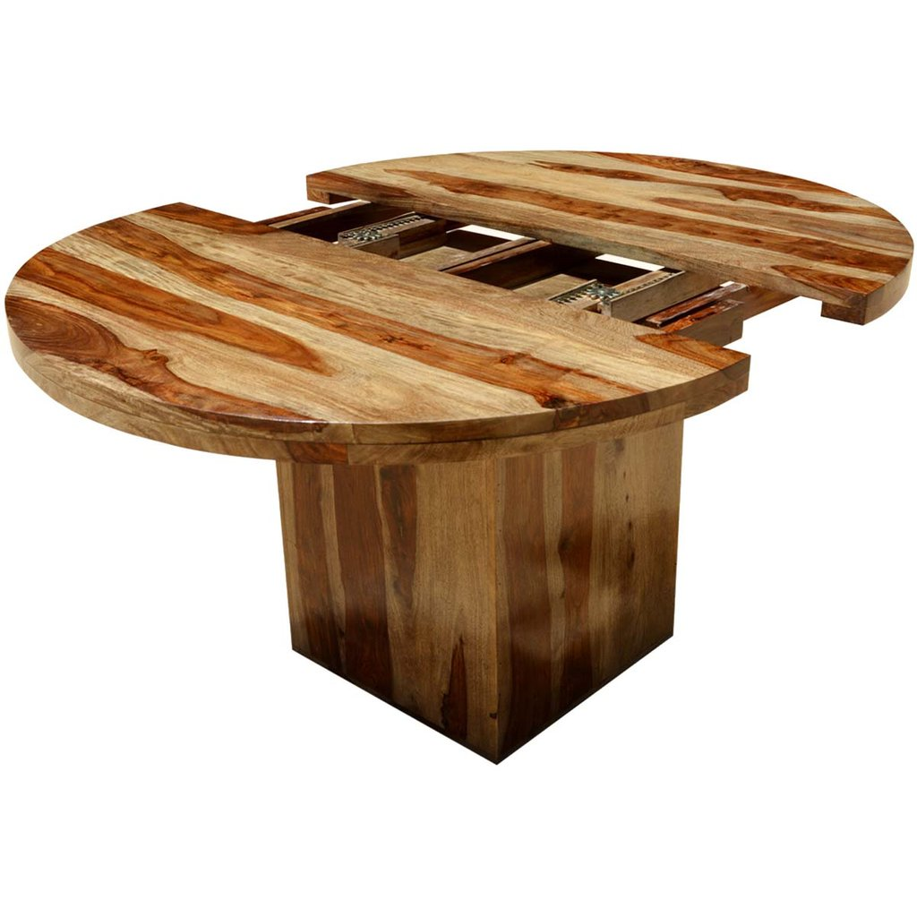 Circle Square Solid Wood Dining Table Extension Reclaimed Wood Round Dining Table